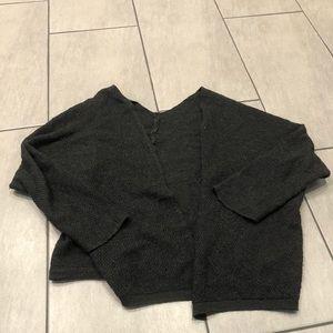 Brandy Melville Wrap Sweater Grey Black Cardigan